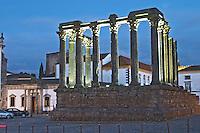 Roman Diana temple with columns. Evora, Alentejo, Portugal