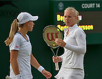 London, England, 2 July, 2016, Tennis, Wimbledon, Womans Doubles: Kiki Bertens (NED) and her doubles partner Johanna Larsson (SWE) (L)<br /> Photo: Henk Koster/tennisimages.com