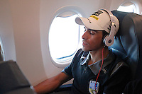 Alberto Contador rests during the fly to Galicia for the continuation of the following stages of La Vuelta 2012.August 27,2012. (ALTERPHOTOS/Paola Otero) /NortePhoto.com<br />