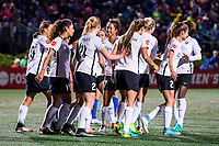 Boston, MA - Saturday September 30, 2017: Sky Blue FC celebrate a goal during a regular season National Women's Soccer League (NWSL) match between the Boston Breakers and Sky Blue FC at Jordan Field.