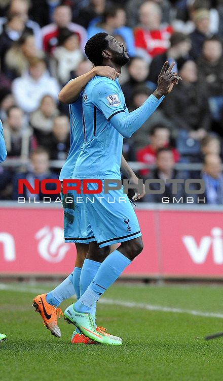 Tottenham Hotspur's Emmanuel Adebayor celebrates his goal -   19/01/2014 - SPORT - FOOTBALL - Liberty Stadium - Swansea - Swansea City v Tottenham Hotspur - Barclays Premier League<br /> Foto nph / Meredith<br /> <br /> ***** OUT OF UK *****