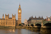 UK, England, London.  Big Ben, Elizabeth Tower, Thames River, Early Morning.  Portcullis Parliament Office Building on right.