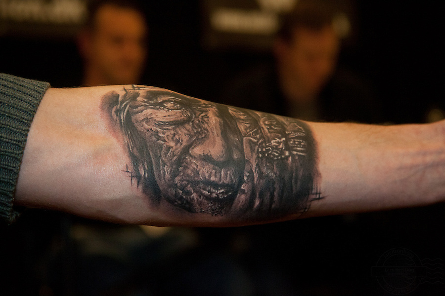 Tattoo Convention in Kolding 2011. Arranged by BodyMod.dk<br /> Black and grey portrait on forearm.