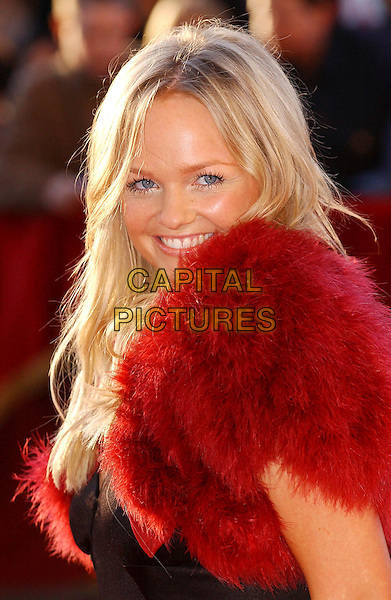 EMMA BUNTON.19 Entertainment celebrates 19 years of success at The Royal Albert Hall .April 19th, 2004.headshot, portrait, red fur shrug.www.capitalpictures.com.sales@capitalpictures.com.© Capital Pictures.