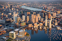 Harbor skyline aerial morning, Boston, MA