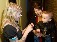Singer Beatrice Martin, commonly known as Coeur de Pirate, meet Charles-Edward Vachon, held by her mother Cindy Hains, before her show at Le Capitole de Quebec in Quebec city February 17, 2009. Coeur de Pirate enjoyed a major boost in her starting career when a video, Time lapse of a baby playing with his toys, featuring Edward and a song of her became viral on Youtube, watched be millions all over the world.