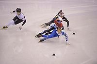 OLYMPIC GAMES: PYEONGCHANG: 17-02-2018, Gangneung Ice Arena, Short Track, 1000m Men, Semen Elistratov (OAR), John-Henry Krueger (USA), Ryosuke Sakazume (JPN), Sjinkie Knegt (NED), Sjinkie krijgt voor de actie op Krueger een penalty (PEN), ©photo Martin de Jong