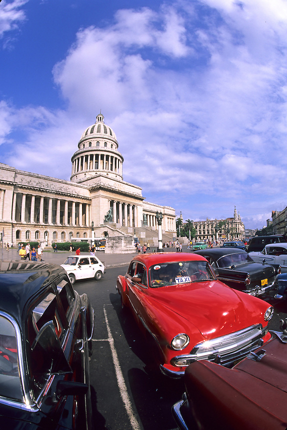 Old classic 1950's autos at Havana Capitolio Nacional, Cuba.