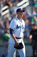 Everett AquaSox starting pitcher George Kirby (37) walks off the field between innings of a Northwest League game against the Eugene Emeralds at Funko Field on August 25, 2019 in Everett, Washington. Everett defeated Eugene 6-3. (Zachary Lucy/Four Seam Images)