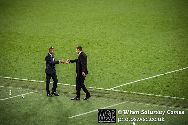 West Ham United 0 Brighton & Hove Albion 3, 20/10/2017. London Stadium, Premier League. Chris Hughton and Slaven Bilic shake hands after the game. Photo by Simon Gill.