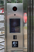 A test is carried out on the new card reader in the new turnstiles at the North West corner of the ground still under construction before Stevenage vs Exeter City, Sky Bet EFL League 2 Football at the Lamex Stadium on 10th August 2019