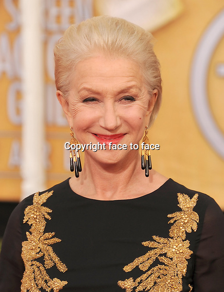 LOS ANGELES, CA- JANUARY 18: Actress Helen Mirren arrives at the 20th Annual Screen Actors Guild Awards at The Shrine Auditorium on January 18, 2014 in Los Angeles, California.<br />
