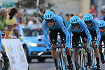 Astana Pro Team including Luis Leon Sanchez (ESP) in action during Stage 1 of La Vuelta 2019, a team time trial running 13.4km from Salinas de Torrevieja to Torrevieja, Spain. 24th August 2019.<br /> Picture: Eoin Clarke | Cyclefile<br /> <br /> All photos usage must carry mandatory copyright credit (© Cyclefile | Eoin Clarke)