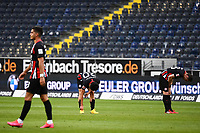 16th May 2020, Commerzbank-Arena, Frankfurt, Germany; Bundesliga football, Eintracht Frankfurt versus Borussia Moenchangladbach; Andre Silva, Makoto Hasebe  and Dominik Kohrof  Eintracht Frankfurt dissapointed after the game and loss