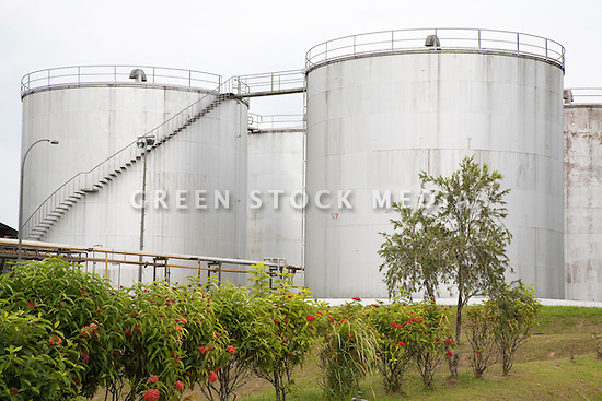 Storage container for palm oil crude. The Sindora Palm Oil Mill, owned by Kulim, is green certified by the Roundtable on Sustainable Palm Oil (RSPO) for its environmental, economic, and socially sustainable practices. Johor Bahru, Malaysia