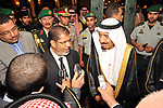 FILE PHOTO: Egyptian President Mohamed Morsi (CL) speaks to reporters alongside Saudi Crown Prince Salman bin Abdulaziz (CR) upon arrival in Jeddah on July 11, 2012. Former President Mohamed Morsi died on Monday in court after the conclusion of a trial session in the espionage lawsuit, Egyptian state TV said. Photo by Egyptian Presidency