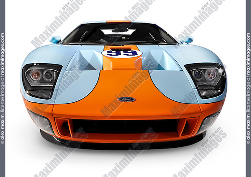 Ford Gt Blue With Orange Powerful Stylish Sports Car Isolated On White Background With Clipping
