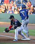 Reno Aces&rsquo; Christian Walker bobbles the ball against Las Vegas 51s' Amed Rosario in Reno, Nev. on Saturday, June 3, 2017. The 51s won 9-5.<br /> Photo by Cathleen Allison/Nevada Photo Source