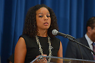August 7, 2013  (Washington, DC) Janaye Ingram, D.C. Bureau Chief for the National Action Network, speaks during a news conference announcing plans for the 50th anniversary March on Washington. D.C.  (Photo by Don Baxter/Media Images International)