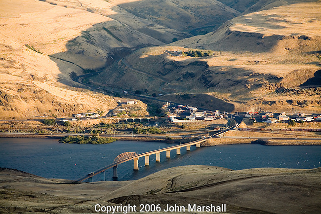 U.S. 97 crossing the Columbia River at Biggs.  View from Washington looking into Oregon at sundown.