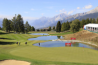 Lee Slattery (ENG) walks onto the 13th green during Sunday's Final Round 4 of the 2018 Omega European Masters, held at the Golf Club Crans-Sur-Sierre, Crans Montana, Switzerland. 9th September 2018.<br /> Picture: Eoin Clarke | Golffile<br /> <br /> <br /> All photos usage must carry mandatory copyright credit (&copy; Golffile | Eoin Clarke)