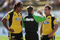 Referee Paul Marks warns Alby Mathewson for a dangerous tackle as Hurricanes captain Rodney So'oialo (left) listens in..Super 14 rugby union match, Hurricanes v Cheetahs at Yarrows Stadium, New Plymouth, New Zealand. Saturday 7 March 2009. Photo: Dave Lintott / lintottphoto.co.nz