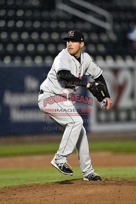 New Britain Rock Cats pitcher Jim Fuller (19) delivers a pitch during a game against the Harrisburg Senators on April 28, 2014 at Metro Bank Park in Harrisburg, Pennsylvania.  Harrisburg defeated New Britain 9-0.  (Mike Janes/Four Seam Images)