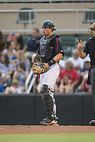 Kannapolis Intimidators catcher Ryan Plourde (28) on defense against the West Virginia Power at Intimidators Stadium on July 3, 2015 in Kannapolis, North Carolina.  The Intimidators defeated the Power 3-0 in a game called in the bottom of the 7th inning due to rain.  (Brian Westerholt/Four Seam Images)
