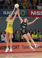 23.09.2018 Silver Ferns Jane Watson and Australia's Caitlin Bassett in action during the Silver Ferns v Australia netball test match at the Melbourne Arena in Melbourne, Australia. Mandatory Photo Credit ©Michael Bradley.