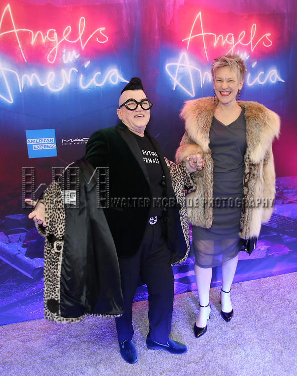 "Lea Delaria with her friend Diane attends the Broadway Opening Night Arrivals for ""Angels In America"" - Part One and Part Two at the Neil Simon Theatre on March 25, 2018 in New York City."