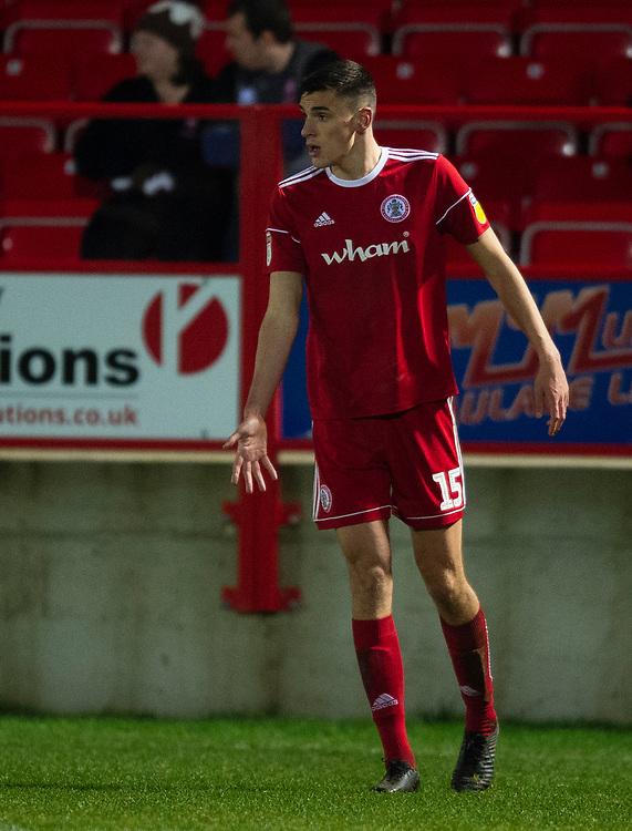 Accrington Stanley's Ross Sykes<br /> <br /> Photographer Andrew Vaughan/CameraSport<br /> <br /> The EFL Checkatrade Trophy Second Round - Accrington Stanley v Lincoln City - Crown Ground - Accrington<br />  <br /> World Copyright &copy; 2018 CameraSport. All rights reserved. 43 Linden Ave. Countesthorpe. Leicester. England. LE8 5PG - Tel: +44 (0) 116 277 4147 - admin@camerasport.com - www.camerasport.com