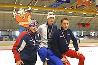 SCHAATSEN: HEERENVEEN: IJsstadion Thialf, 03-2003, VikingRace, Sven Kramer, Michael Kaatee, Guido Berends, ©foto Martin de Jong