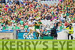 David Moran, Kerry in action against Cathal McNally, Kildare in the All Ireland Quarter Final at Croke Park on Sunday.