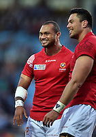 Will Helu of Tonga is all smiles after the match. Rugby World Cup Pool C match between Tonga and Namibia on September 29, 2015 at Sandy Park in Exeter, England. Photo by: Patrick Khachfe / Onside Images