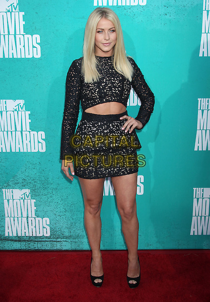 Julianne Hough.2012 MTV Movie Awards held at the Gibson Amphitheatre, Universal City, California, UA..June 3rd, 2012.full length black skirt lace top cropped  layered layers hand on hip.CAP/ADM/RE.©Russ Elliot/AdMedia/Capital Pictures.