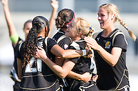 Rachel Buehler is congratulated after scoring a goal, FC Gold 1, St. Louis Athletica 1, at Buck Shaw Stadium, in Santa Clara, Calif., Sunday, August 9, 2009.