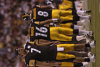 26 August 2005:  Steelers QBs Ben Roethlisberger (7), Charlie Batch(6), and Tommy Maddox(8).<br />