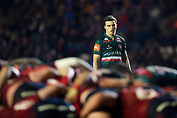 George Ford of Leicester Tigers watches a scrum. European Rugby Champions Cup match, between Leicester Tigers and Munster Rugby on December 17, 2017 at Welford Road in Leicester, England. Photo by: Patrick Khachfe / JMP