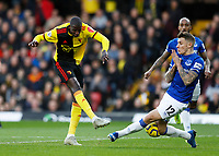1st February 2020; Vicarage Road, Watford, Hertfordshire, England; English Premier League Football, Watford versus Everton; Lucas Digne of Everton blocking Abdoulaye Doucoure of Watford shot
