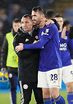 Brendan Rogers manager of Leicester City consoles Christian Fuchs of Leicester Cityduring the Carabao Cup match at the King Power Stadium, Leicester. Picture date: 8th January 2020. Picture credit should read: Darren Staples/Sportimage