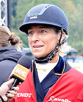 Blair Atholl, Scotland, UK. 11th September, 2015. Longines  FEI European Eventing Championships 2015, Blair Castle. Jenny Rudall interviewing Ingrid Klimke (GER)  © Julie Priestley