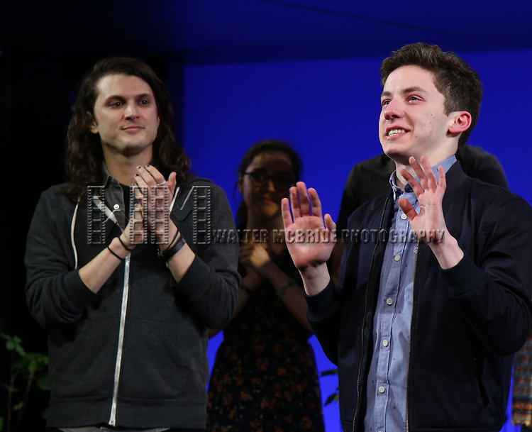 """Alex Boniello with Andrew Barth Feldman takes his final """"Dear Evan Hansen"""" bows and """"Passes the Polo"""" to Jordan Fisher at the Music Box Theatre on January 26, 2020 in New York City."""