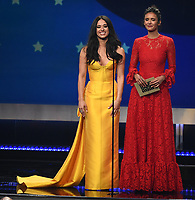SANTA MONICA - JANUARY 13: Jeanine Mason (L) and Nina Dobrev appear on the 24th Annual Critics' Choice Awards at the Barker Hangar on January 13, 2019, in Santa Monica, California. (Photo by Frank Micelotta/PictureGroup)