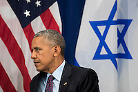 """United States President Barack Obama looks on during a bilateral meeting with Prime Minister of Israel Benjamin Netanyahu at the Lotte New York Palace Hotel, September 21, 2016 in New York City. Last week, Israel and the United States agreed to a $38 billion, 10-year aid package for Israel. Obama is expected to discuss the need for a """"two-state solution"""" for the Israeli-Palestinian conflict. Photo Credit: Drew Angerer/CNP/AdMedia"""