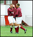 3rd October 98      .Copyright Pic : James Stewart   .STENHOUSEMUIR V ALBION ROVERS.ALAN LAWRENCE  IS CONGRATULATED BY GREAME ARMSTRONG AFTER FIRING HOME STENNY'S FOURTH GOAL......Payments to :-.James Stewart Photo Agency, Stewart House, Stewart Road, Falkirk. FK2 7AS      Vat Reg No. 607 6932 25.Office : 01324 630007        Mobile : 0421 416997.If you require further information then contact Jim Stewart on any of the numbers above.........