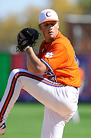 Pitcher Tucker Burgess (47) of the Clemson Tigers in a fall Orange & Purple intrasquad scrimmage on November 2, 2013, at Fluor Field at the West End in Greenville, South Carolina. Orange won 7-1.(Tom Priddy/Four Seam Images)