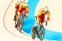 Picture by Alex Whitehead/SWpix.com - 09/12/2017 - Cycling - UCI Track Cycling World Cup Santiago - Velódromo de Peñalolén, Santiago, Chile - Spain's Alejandro Martinez Chorro, Juan Peralta Gascon and Jose Moreno Sanchez compete in the Men's Team Sprint qualifying.
