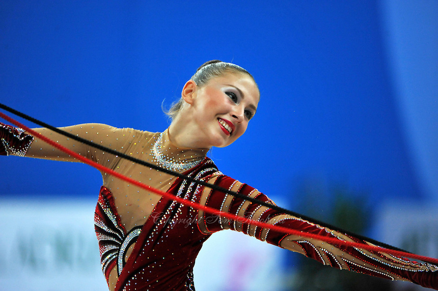 Daria Kondakova of Russia performs with rope at 2010 Pesaro World Cup on August 27, 2010 at Pesaro, Italy.  Photo by Tom Theobald.