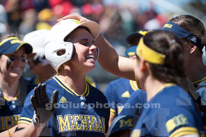 The University of Michigan softball team defeats Maryland, 16-0 (4 1/2 inn.), at Alumni Field in Ann Arbor, MI on April 23, 2016.
