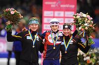 SCHAATSEN: HEERENVEEN: Thialf, Essent ISU World Cup, 02-03-2012, Podium 5000m Ladies, Stephanie Beckert (GER), Martina Sábliková (CZE), Claudia Pechstein (GER), ©foto: Martin de Jong